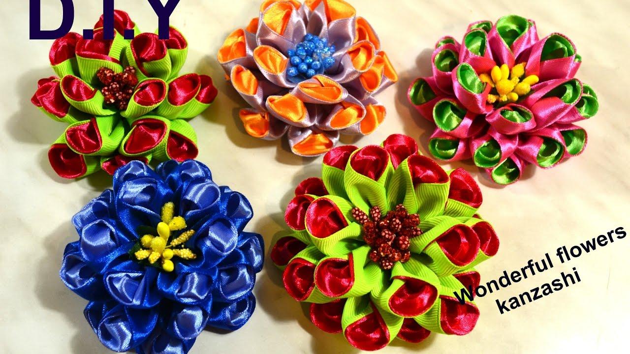 Цветы из атласной ленты своими руками ютуб фото 817