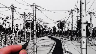 Learn How to Draw a Manga Background of Telegraph Poles in this Dra...