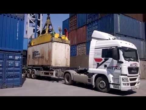 видео: Разгрузка контейнеровоза (Владивосток 2014)