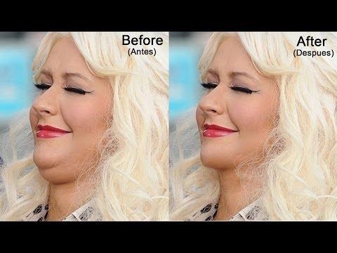 Como Quitar Una Papada/doble Menton Usando Photoshop CS6 (Mac) Christina Aguilera