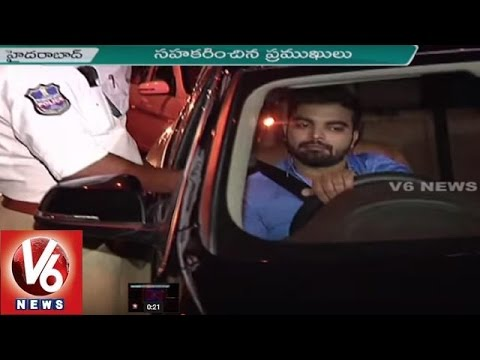 Traffic Police Conducts Drunk And Drive Test  At Apollo Hospital In Hyderabad || V6 News