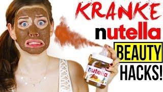 WAS DU MIT NUTELLA KRANKES MACHEN KANNST! BEAUTY DIY NUTELLA HACKS im LIVE TEST!