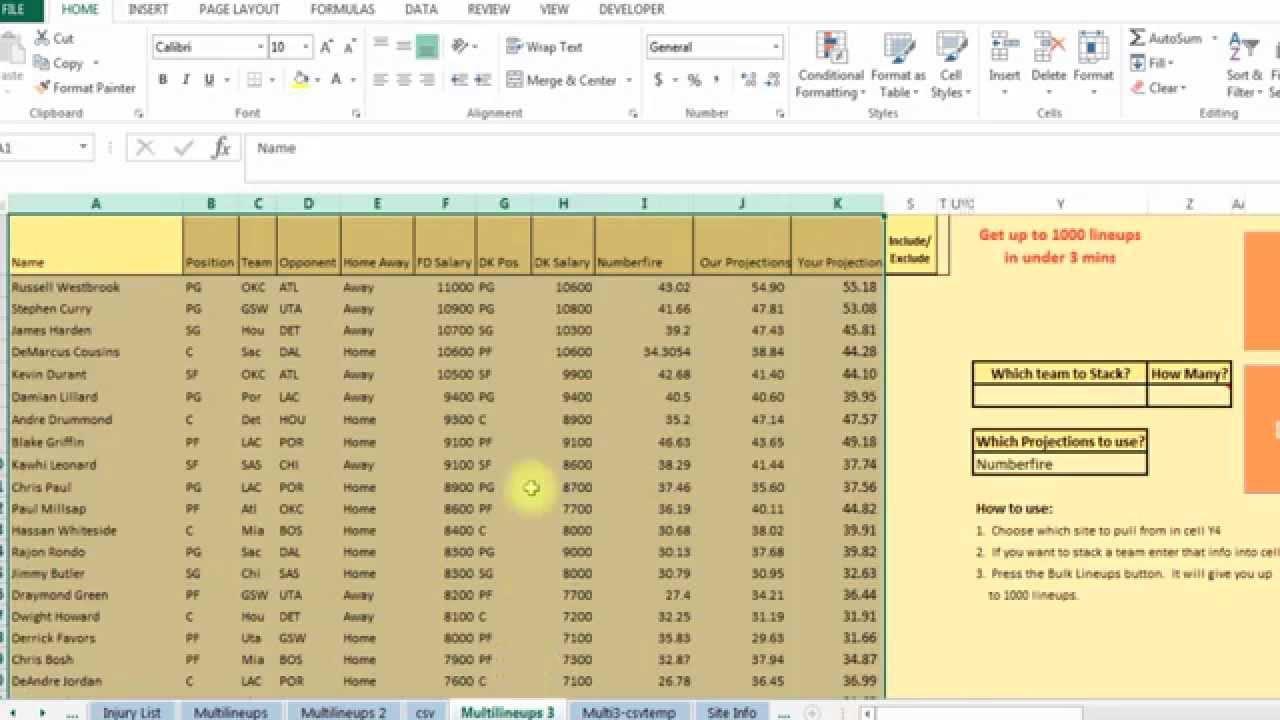 How to use my NBA basketball spreadsheet tool