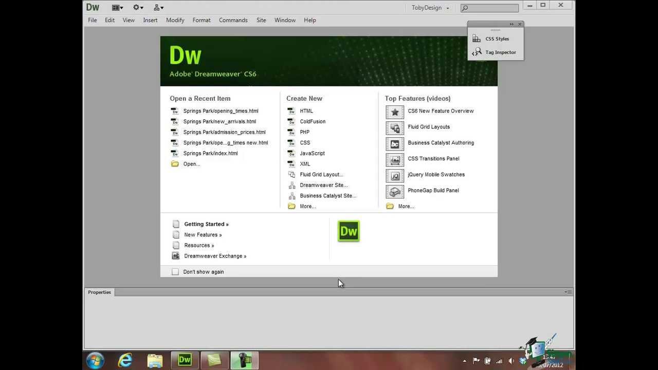 how to create website in dreamweaver cs6