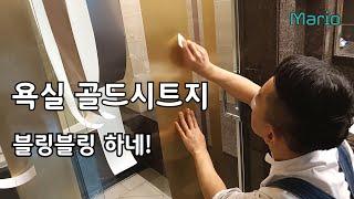 욕실셀프인테리어, 시트지붙이기 욕실샤워부스 골드시트지 …