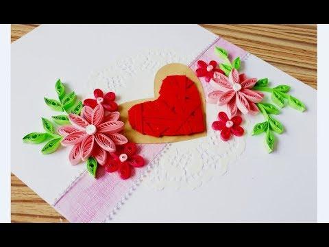 DIY Paper quilling Flower Card Design 36 // Quilling flower heart // Valentine's Card