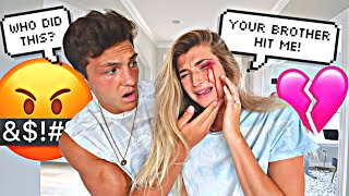 HIS BROTHER BEAT ME UP PRANK ON FIANCE *Cute Reaction*