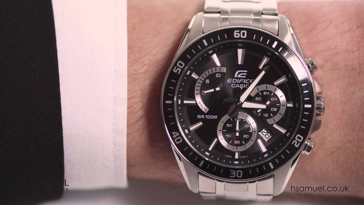 6d91a0a9737f Casio Edifice Men s Black Dial Stainless Steel Watch EFR-552D-1AVUEF -  YouTube