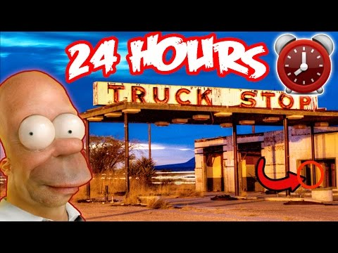SAFE FOUND! 24 HOUR OVERNIGHT at HAUNTED TRUCK STOP  TRUCK DRIVER GHOSTS OVERNIGHT AT TRUCK STOP!