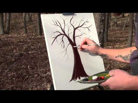 How to paint a tree with acrylic paints
