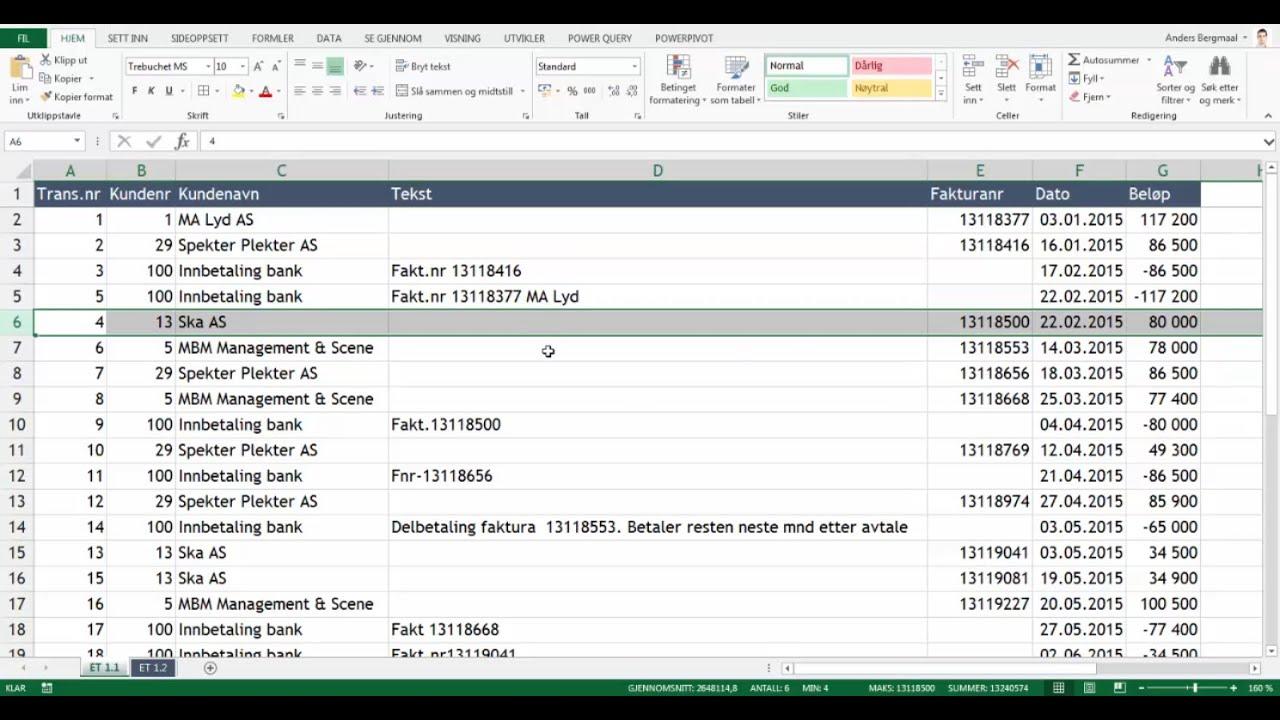 Excel Triks 1 - Trekke ut nummer fra tekststreng: Matriseformel - To eksempler