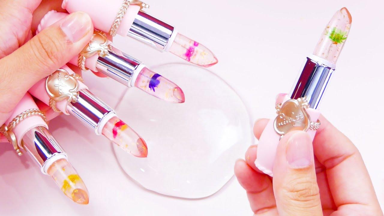 【ASMR】Slime Coloring with Makeup 💄 スライムを透明な口紅で色付けしたら予想外の色に💄💦【音フェチ】