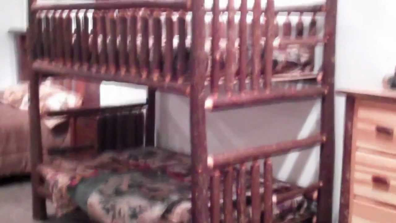 Hickory Bunk Bed Rustic Log Bunk Bed By Viking Log Furniture Youtube