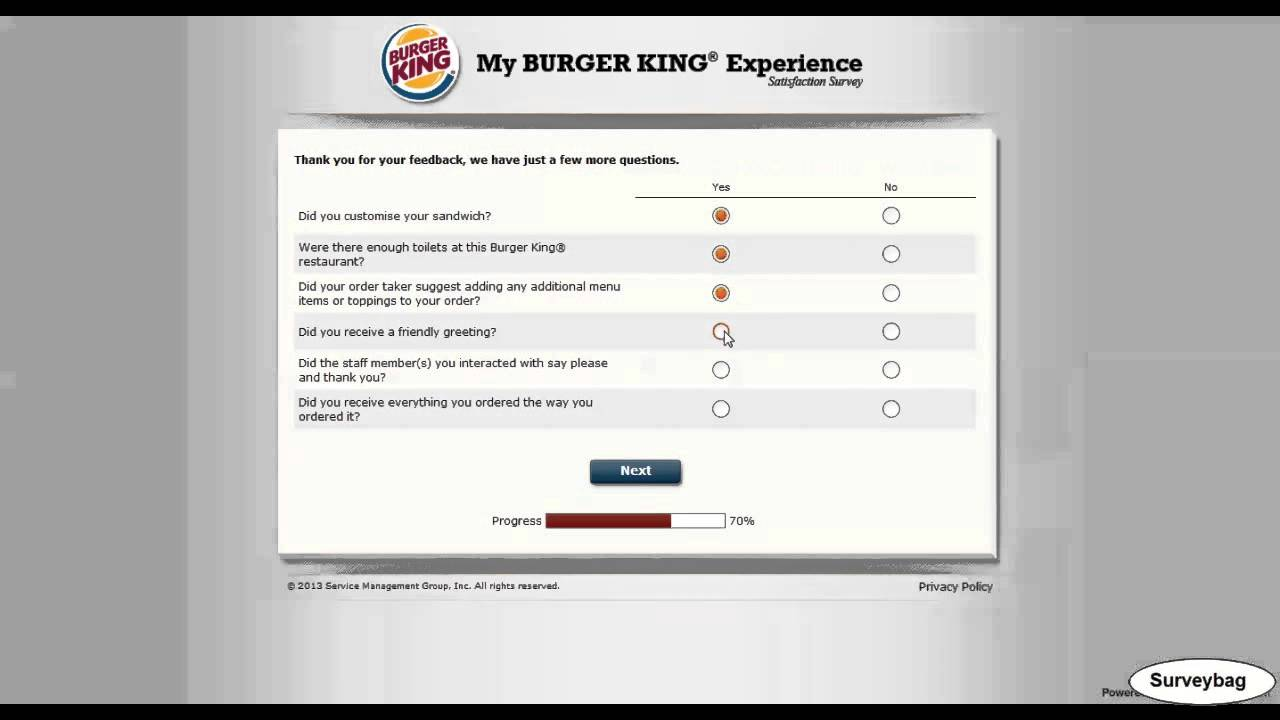 Burger king result summaries questionnaire