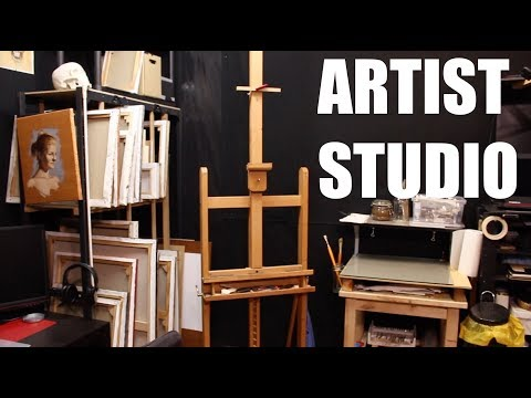 Oil Painting and Drawing Studio Tour - A Great Way to Set Up an Artist Studio in a Small Room