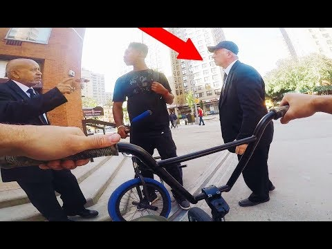 BMX vs SECURITY IN NYC (BMX IN THE HOOD)
