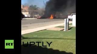 USA: Military jet crashes into residential area in California