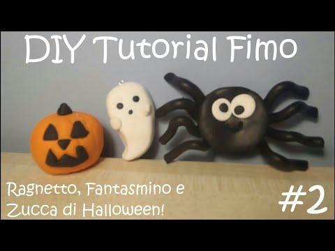 Zucca Di Halloween Pyssla.Diy Tutorial Fimo 2 Speciale Halloween Ragnetto Fantasmino E Zucca Di Halloween