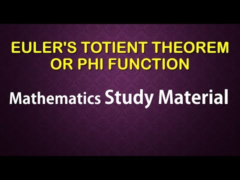 EULER'S TOTIENT THEOREM OR PHI FUNCTION  mathematics study material online