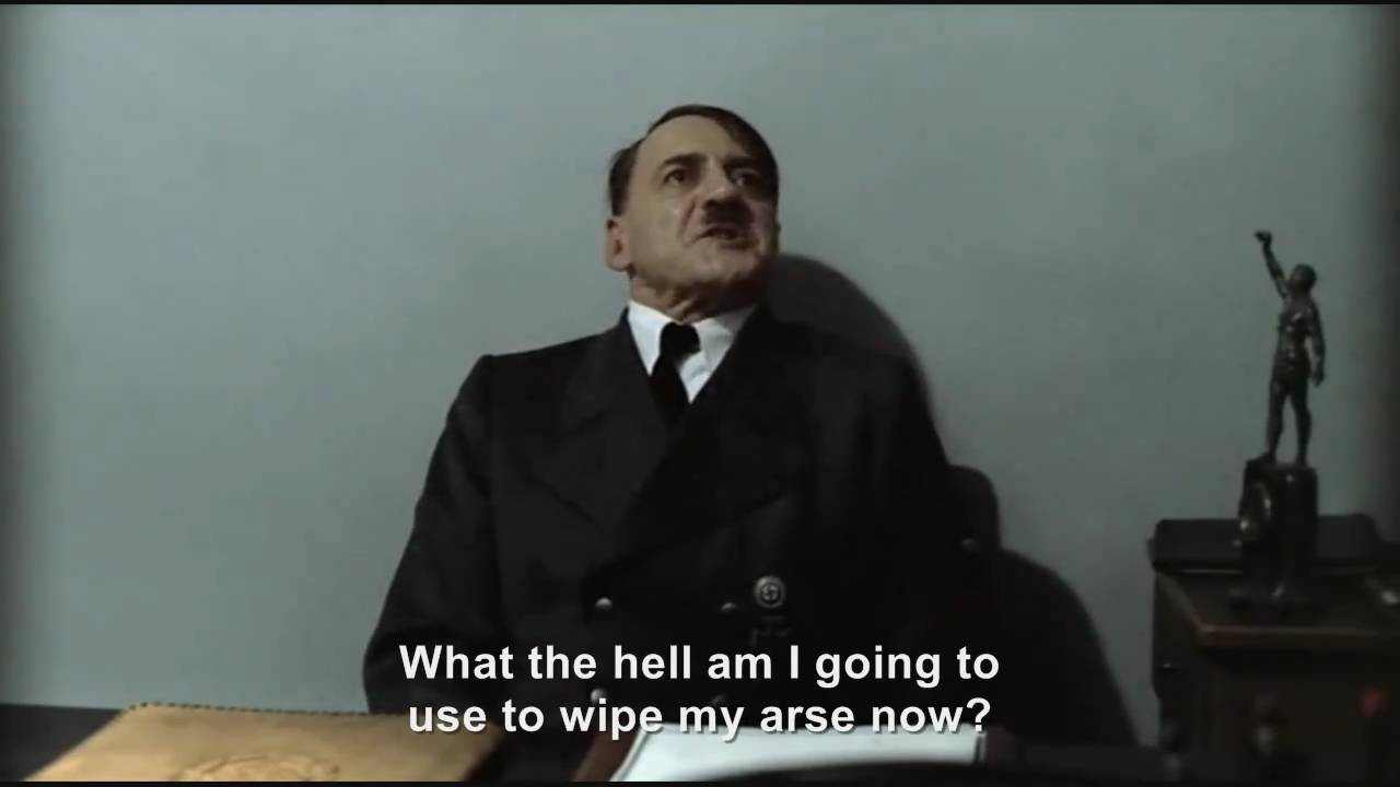 Hitler is informed the toilet paper has run out