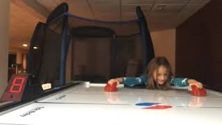 Playing hockey table  and suprise