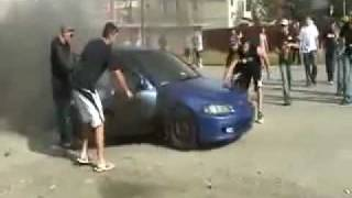 Honda Civic Blows Up in Flames Trying To Do A Burnout FAIL