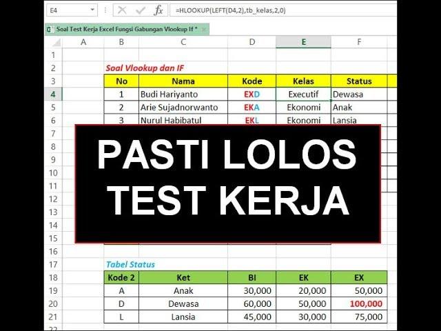 Pasti Diterima Contoh Latihan Soal Excel Test Kerja Mudah Banget Youtube