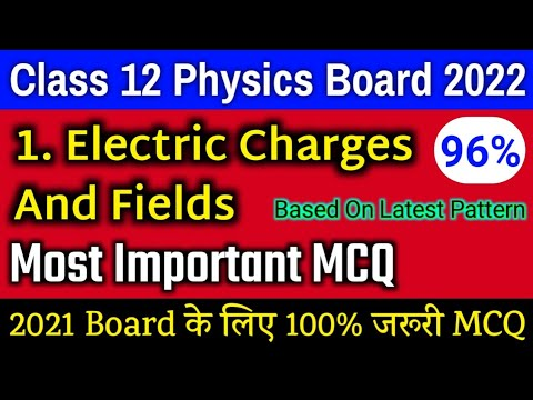 Class 12 Physics Chapter 1 MCQ   Electric Charges And Fields Important Mcq   Board Exam 2022 Physics