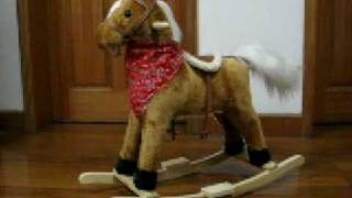 Rocking Horse Ride On Plush Pony Wood Child Kid Toy
