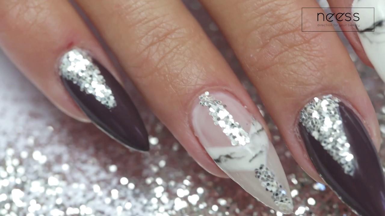 Marble Glitter Nails Boskiepaznokcie Proste Swiateczno