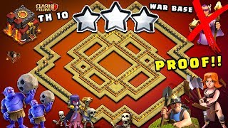 UNBEATABLE Th10 War Base 2017 Vs Anti Everything Anti Bowler Anti 1 Star With Replays PROOF!