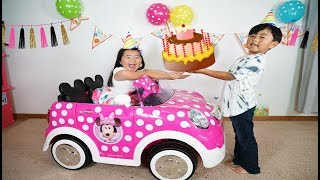 Surprise Happy Birthday Party and New Car Minnie mouse Ride-On Toy