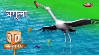 3D Crane Rhyme in Hindi | Hindi Rhymes For Kids | हिंदी कविता | 3D Bird Rhymes in Hindi