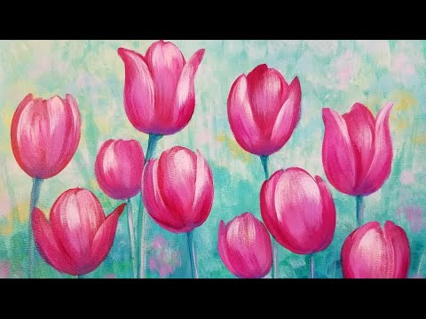 🌷 Learn to Paint Easy TULIPS Acrylic Painting Tutorial LIVE!