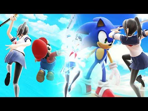 AYANO VS MARIO & SONIC ! Yandere Simulator X Super Smash Bros Wii U