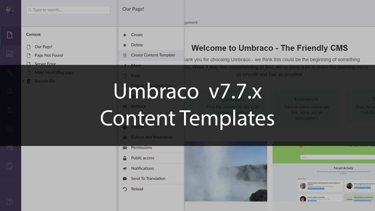 Content Templates Umbraco 7.7.x - YouTube