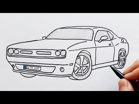 How to Draw Dodge Sports Luxury Car - Easy Drawing Cars - Basit ...