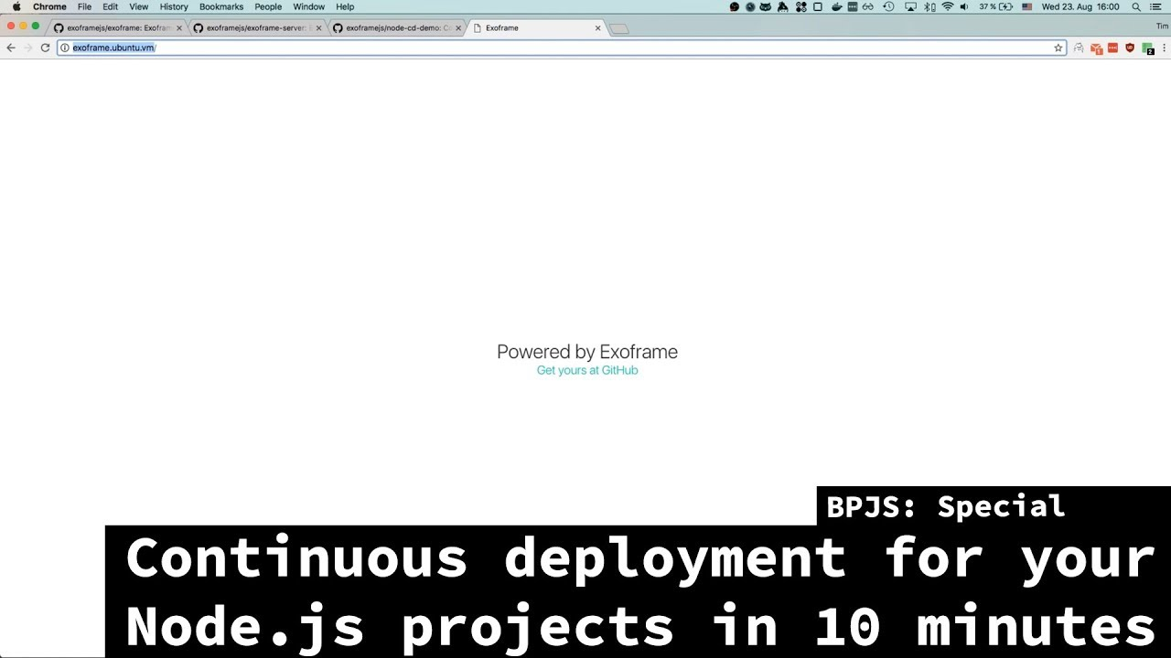 BPJS: Special - Continuous Deployment for Node js projects in 10 mins using  Exoframe