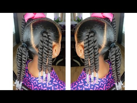 Rope Twist Ponytails W/Beads Tutorial  | Kids Natural Hairstyle | IAMAWOG
