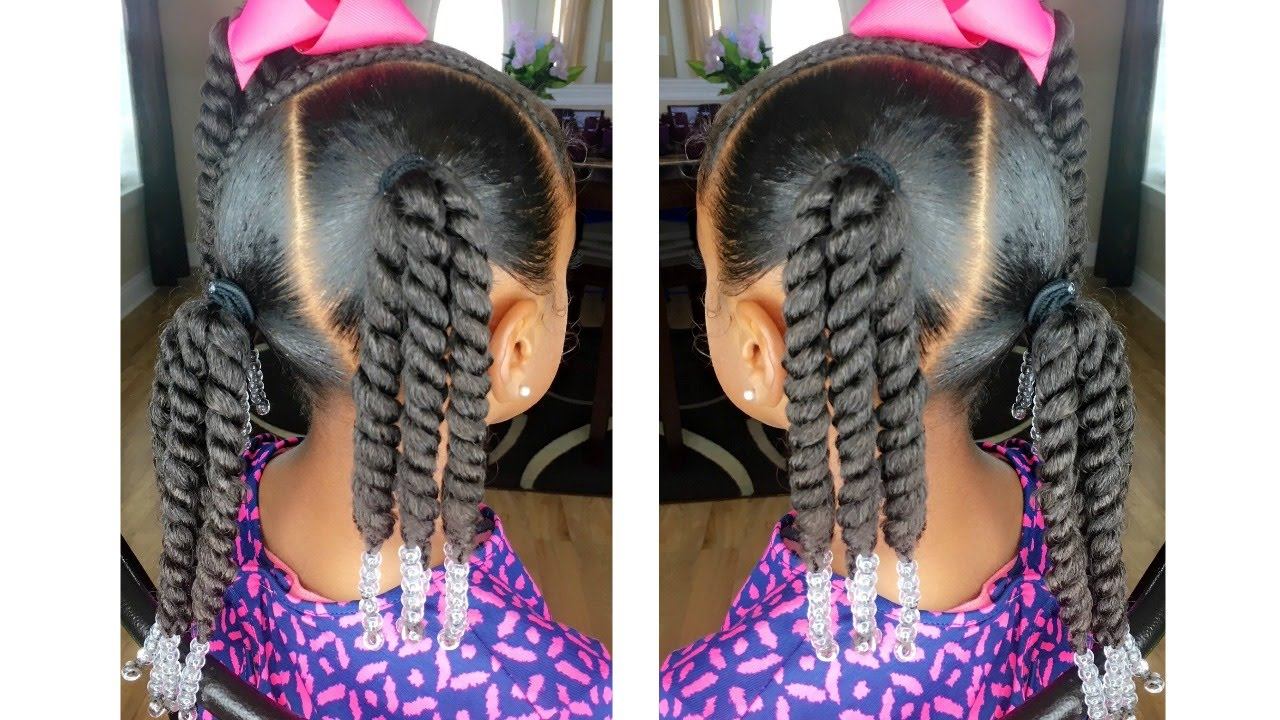 rope twist ponytails w/beads tutorial | kids natural hairstyle | iamawog