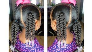 Rope Twist Ponytails w/Beads Tutorial    Kids Natural Hairstyle   IAMAWOG