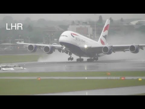 Rainy Plane Spotting **Wet Runway Takeoffs** at London Heathrow Airport RW27R ✈️✈️☔️