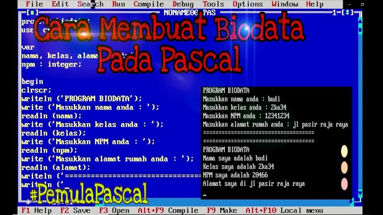 Cara Membuat Biodata di Pemrograman Pascal | Pemula Pascal 2 - YouTube