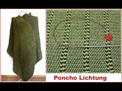 Poncho Lichtung Einfach Tunesisch Häkeln 2 Bobbel Cotton Woolly