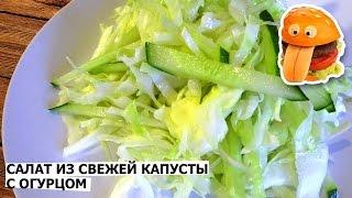 Салат из капусты и огурцов, вкусный рецепт.
