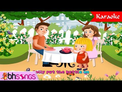 Polly Put The Kettle On | Nursery Rhymes Songs For Children [ Karaoke 4K ]
