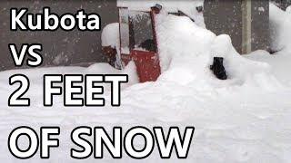 UNBELIEVABLE! 2 FOOT DEEP BLIZZARD; Kubota Blasts Through Snow!!!!