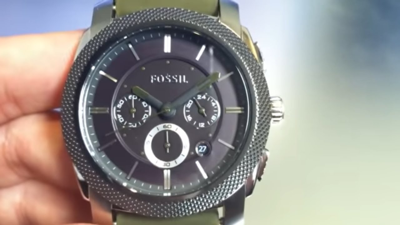 Fossil Chronograph Green Silicone Strap Watch Fs4597 Youtube