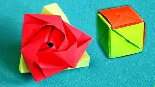 РОЗА - КУБ из бумаги / Оригами ТРАНСФОРМЕР(В данном видео мы научимся делать простое модульное оригами, из которого сможем получить как кубик, так..., 2016-01-13T14:46:59.000Z)