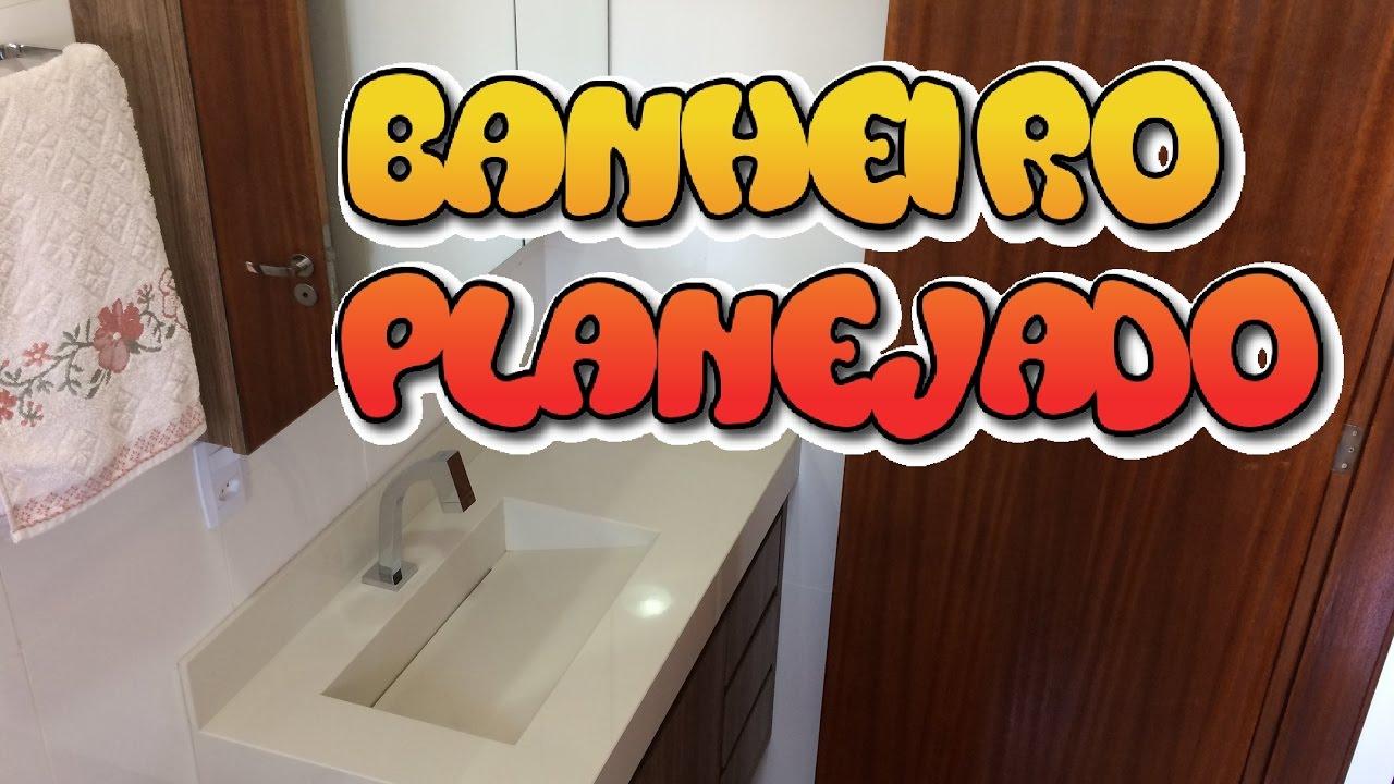 PROJETO BANHEIRO PLANEJADO PEQUENO  Apartamento Pequeno  YouTube -> Banheiro Planejado Pequeno